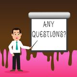 Conceptual hand writing showing Any Questions Question. Business photo text you say write order to ask demonstrating. Conceptual hand writing showing Any stock illustration