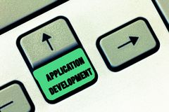 Conceptual hand writing showing Application Development. Business photo text creation of Computer Apps for use on Mobile Devices.  royalty free stock photo