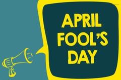 Conceptual hand writing showing April Fool s is Day. Business photo showcasing Practical jokes humor pranks Celebration funny fool. Ish Script artwork speaker stock illustration