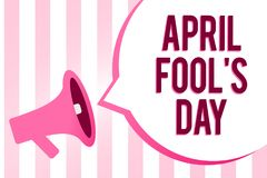 Conceptual hand writing showing April Fool s is Day. Business photo showcasing Practical jokes humor pranks Celebration funny fool. Ish Sound speaker convey stock illustration