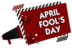 Conceptual hand writing showing April Fool s is Day. Business photo text Practical jokes humor pranks Celebration funny foolish Mu. Ltiple text pattern red vector illustration