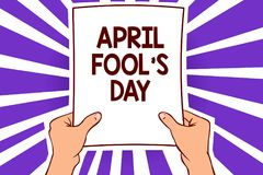 Conceptual hand writing showing April Fool s is Day. Business photo text Practical jokes humor pranks Celebration funny foolish Pa. Per page text lines hand wave Stock Illustration