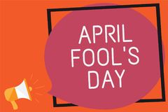 Conceptual hand writing showing April Fool s is Day. Business photo text Practical jokes humor pranks Celebration funny foolish Re. Member message public Royalty Free Illustration