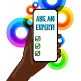 Conceptual hand writing showing Ask An Expert. Business photo text confirmation that have read understand and agree with. Conceptual hand writing showing Ask An stock illustration