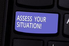 Conceptual hand writing showing Assess Your Situation. Business photo text Judging a situation after sighted all the. Information Keyboard key Intention to stock image