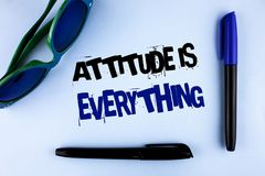 Conceptual hand writing showing Attitude Is Everything. Business photo showcasing Motivation Inspiration Optimism important to suc. Ceed written plain background Stock Photo