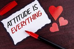 Conceptual hand writing showing Attitude Is Everything. Business photo text Motivation Inspiration Optimism important to succeed w. Ritten Sticky Note Paper Royalty Free Stock Photos