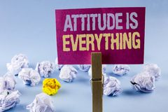 Conceptual hand writing showing Attitude Is Everything. Business photo text Motivation Inspiration Optimism important to succeed w. Ritten Sticky Note Paper Royalty Free Stock Image