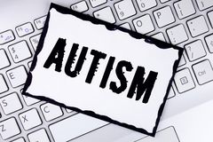 Conceptual hand writing showing Autism. Business photo showcasing Autism Awareness conducted by social committee around the globe. Written White Sticky Note Royalty Free Stock Photos