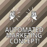 Conceptual hand writing showing Automated Marketing Concept. Business photo text automate repetitive tasks such as. Emails Hu analysis Hands Clapping with Sound royalty free illustration