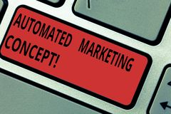 Conceptual hand writing showing Automated Marketing Concept. Business photo text automate repetitive tasks such as. Emails Keyboard key Intention to create stock illustration