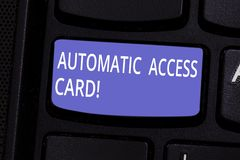 Conceptual hand writing showing Automatic Access Card. Business photo text used to control entry into exterior doors of. Buildings Keyboard key Intention to stock photo