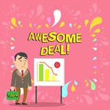 Conceptual hand writing showing Awesome Deal. Business photo showcasing A large but indefinite quantity as like as a. Conceptual hand writing showing Awesome vector illustration