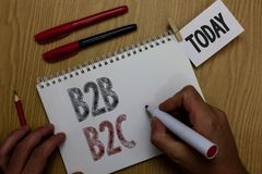 Conceptual hand writing showing B2B B2C. Business photo showcasing two types for sending emails to other people Outlook accounts M. An holding marker notebook royalty free stock images