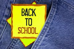 Conceptual hand writing showing Back To School. Business photo showcasing Right time to purchase schoolbag, pen, book, stationary. Written Yellow Sticky Note Royalty Free Stock Photos