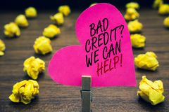 Conceptual hand writing showing Bad Credit question We Can Help. Business photo text Borrower with high risk Debts Financial Paper