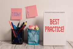 Conceptual hand writing showing Best Practice. Business photo showcasing commercial procedures that are accepted. Conceptual hand writing showing Best Practice stock photography