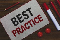 Conceptual hand writing showing Best Practice. Business photo showcasing Method Systematic Touchstone Guidelines Framework Ethic W. Hite paper red borders stock photo