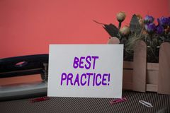 Conceptual hand writing showing Best Practice. Business photo text commercial procedures that are accepted prescribed. Conceptual hand writing showing Best stock image