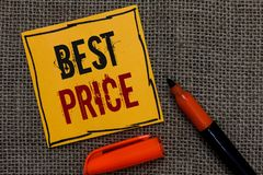 Conceptual hand writing showing Best Price. Business photo showcasing Buyer or seller can obtain something for a product sold or b. Uy Orange paper Marker royalty free stock images