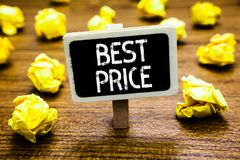 Conceptual hand writing showing Best Price. Business photo showcasing Buyer or seller can obtain something for a product sold or b. Uy Blackboard crumpled paper stock photography