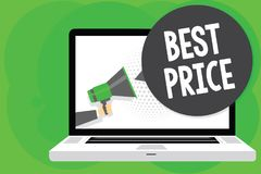 Conceptual hand writing showing Best Price. Business photo text Buyer or seller can obtain something for a product sold or buy Man royalty free illustration