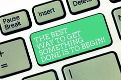 Conceptual hand writing showing The Best Way To Get Something Done Is To Begin. Business photo text Start doing to get. Results Keyboard Intention to create royalty free stock photo