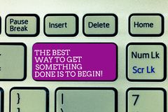 Conceptual hand writing showing The Best Way To Get Something Done Is To Begin. Business photo text Start doing to get. Results Keyboard Intention to create royalty free stock photos