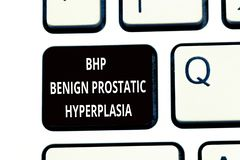 Conceptual hand writing showing Bhp Benign Prostatic Hyperplasia. Business photo text Noncancerous prostate gland. Enlargement royalty free stock photos