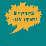 Conceptual hand writing showing Bicycles For Rent. Business photo showcasing rents bikes for short periods of time. Usually few hours Oval Color Speech Bubble vector illustration