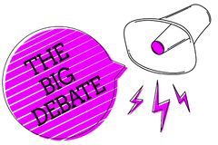 Conceptual hand writing showing The Big Debate. Business photo text Lecture Speech Congress presentation Arguments Differences Meg. Aphone purple speech bubble stock illustration