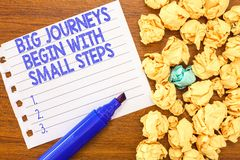 Conceptual hand writing showing Big Journeys Begin With Small Steps. Business photo text Start up a new business venture.  royalty free stock photo