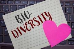 Conceptual hand writing showing Bio Diversity. Business photo showcasing Variety of Life Organisms Marine Fauna Ecosystem Habitat. Notebook paper keyboard royalty free stock photos