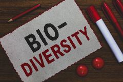 Conceptual hand writing showing Bio Diversity. Business photo showcasing Variety of Life Organisms Marine Fauna Ecosystem Habitat. White paper red borders royalty free stock photography