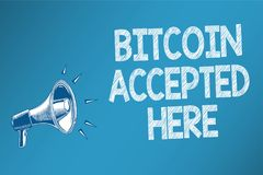 Conceptual hand writing showing Bitcoin Accepted Here. Business photo text you can purchase things through Cryptocurrencies Speake. Rs alarming script signals Royalty Free Stock Photo