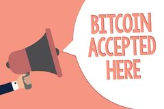 Conceptual hand writing showing Bitcoin Accepted Here. Business photo text you can purchase things through Cryptocurrencies Recall. Remember text social notice Royalty Free Stock Images