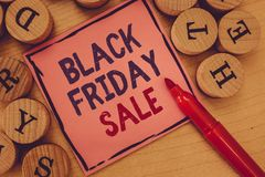 Conceptual hand writing showing Black Friday Sale. Business photo text Shopping Day Start of the Christmas Shopping stock image