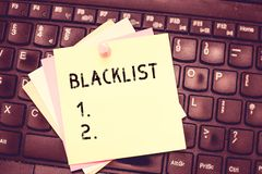 Conceptual hand writing showing Blacklist. Business photo text list of showing or groups regarded as unacceptable or. Untrustworthy Blank Notepad Sheet with stock photos