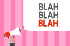 Conceptual hand writing showing Blah Blah Blah. Business photo showcasing Talking too much false information gossips non-sense spe. Aking Man holding megaphone vector illustration