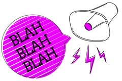 Conceptual hand writing showing Blah Blah Blah. Business photo text Talking too much false information gossips non-sense speaking. Megaphone purple speech stock illustration