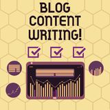 Conceptual hand writing showing Blog Content Writing. Business photo text online writing which is link to web marketing. Campaign Digital Combination of Column royalty free illustration