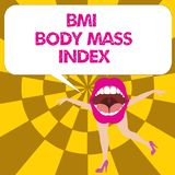 Conceptual hand writing showing Bmi Body Mass Index. Business photo text body fat based on weight and weight measurement.  stock illustration