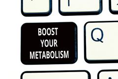 Conceptual hand writing showing Boost Your Metabolism. Business photo text Increase the efficiency in burning body fats.  royalty free stock photography