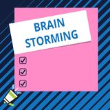 Conceptual hand writing showing Brain Storming. Business photo showcasing Stimulating creative thinking Developing new. Conceptual hand writing showing Brain royalty free illustration