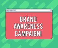 Conceptual hand writing showing Brand Awareness Campaign. Business photo showcasing How aware consumers are with your products. Monitor Screen with Progress stock photography