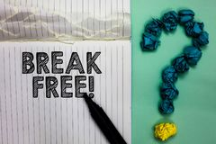 Conceptual hand writing showing Break Free. Business photo text another way of saying salvation out of chains freedom prison Noteb. Ook marker crumpled papers royalty free stock photo