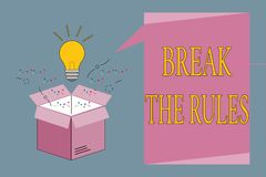 Conceptual hand writing showing Break The Rules. Business photo showcasing To do something against formal rules and restrictions vector illustration
