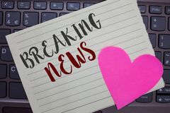 Conceptual hand writing showing Breaking News. Business photo showcasing Special Report Announcement Happening Current royalty free stock photos