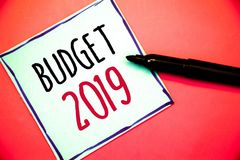 Conceptual hand writing showing Budget 2019. Business photos text New year estimate of incomes and expenses Financial PlanIdeas me. Conceptual hand writing stock photo