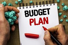 Conceptual hand writing showing Budget Plan. Business photo text Accounting Strategy Budgeting Financial Revenue Economics written. By Man Holding Marker royalty free stock photography